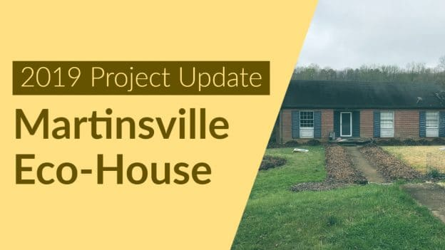 Yellow background with words Martinsville Eco-House over image of house in background